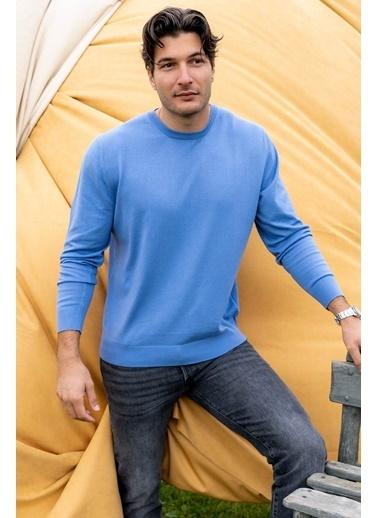 Silk and Cashmere & More Tony Modal ve Pamuklu Yuvarlak Yaka Uzun Kollu Erkek Triko Mavi